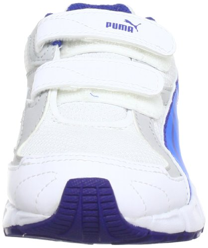 Puma  AXIS 2 Mesh V Kids, Chaussures indoor enfant mixte Blanc - Weiß (white-brilliant blue-mazarine blue 09)