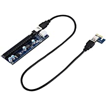 PCI-E express USB 3.0 1 x Extender Riser Card Adapter 6 pines Power Cable Compatible with 1 x, 4 x, 8 x, 16 x PCI-E ranura of the Motherboard with 60 cm Cable