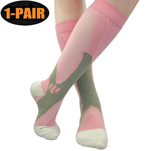 Fansir calze a compressione per uomini e donne, calzini compressione graduata sport calze migliore circolazione sanguigna, prevenire i coaguli disangue, sollievo dal dolore sportivo fit per corsa, infermieri, uso medico, stinchi,viaggi, di volo, potenziano circolazione, recupero