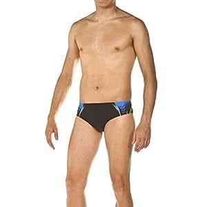 arena Herren Badehose Slip One Placed Print (UV-Schutz, Kordelzug für intensives Schwimmen, Chlorresistent), Black-Pix Blue (508), 4