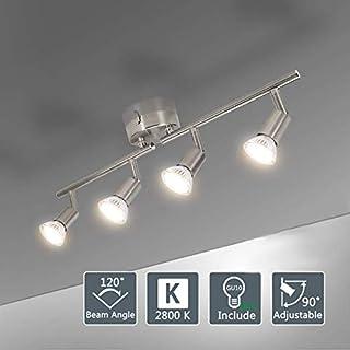 4 Way Straight Bar Ceiling Spotlight Rail (Polished Chrome), Led Ceiling Lights (Warm White) for Kitchen, Living Room, Bedroom. (Including 4 GU 10 Led Bulbs)