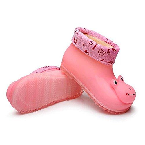 Haodasi Korean Kinder Baby Cotton Baumwolle Set Herausnehmbar Removable Rain Boots Regen Stiefel Shoes Rutschfest Gummi Rainboots Regen Schuhe Pink