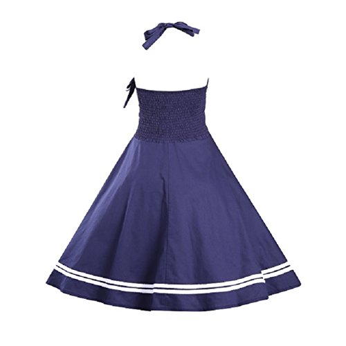 iHaipi - Vintage 1950's Audrey Hepburn pin-up robe de soirée cocktail, style halter années 50 à pois (01. Small, 11. Vert Blanc Dot) 07. Marine Bleu