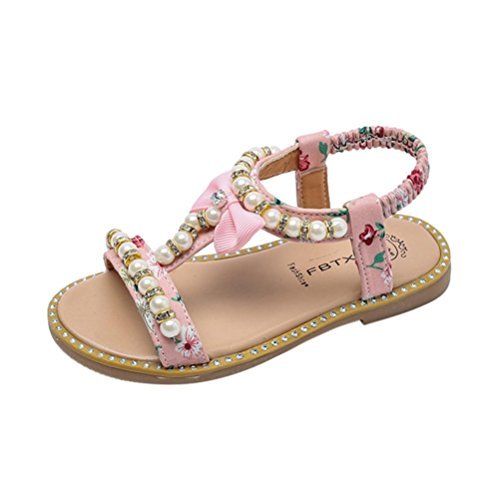 Mädchen Sandalen mit Bowknot Perlenkristall Lauflernschuhe beleuchtet Prinzessin Schuhe Halbsandalen Soft Sole Single Sneaker Strand Sandalen (22, Rose)