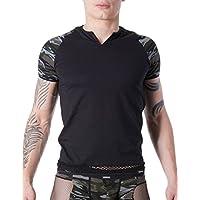 Look Me LM814–81blkl Shirt schwarz sexy für Herren Armee Déco Camouflage auf den Ärmeln/Rundhalsausschnitt geöffnet/Band Netzstoff auf Unten