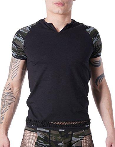 Look Me LM814-81blkl Shirt schwarz sexy für Herren Armee Déco Camouflage auf den Ärmeln/Rundhalsausschnitt geöffnet/Band Netzstoff auf Unten -