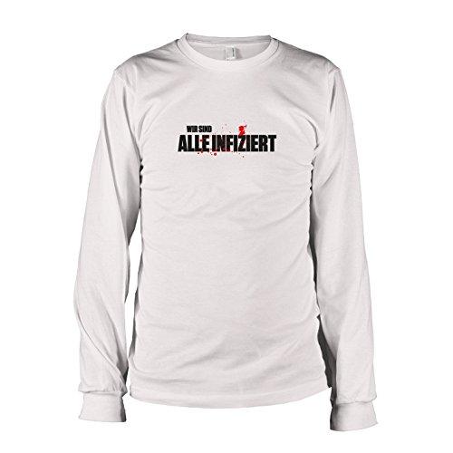 Hunter Apocalypse Zombie Kostüm - TEXLAB - Alle infiziert - Langarm T-Shirt, Herren, Größe XXL, weiß