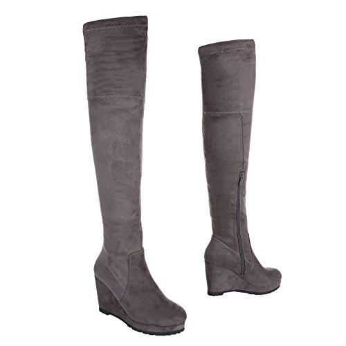 Damen Schuhe Overknee Stiefel Plateau Keil Wedges Grau Grau