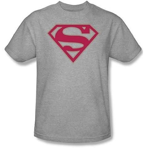 Superman - - Carmesí y gris Shield - adultos Heather manga corta T-shirt para hombres