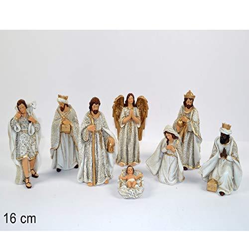 Aurora store set natività bianca presepe statuine in resina con 8 soggetti personaggi da h. 16 cm giuseppe maria gesù bambino