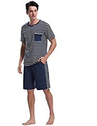 7a614f2e73 iClosam Pijama Hombre Raya Verano Set