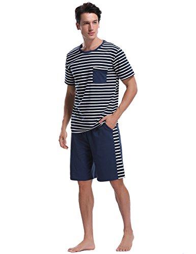 iClosam Herren Baumwolle Kurzarm Pyjamas Set, Zweiteiliger Schlafanzug mit Tasche Marineblau XXL -