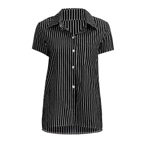 Zegeey Damen Bluse Tops Kurzarm Mit V-Ausschnitt Button-Up Gestreift Streifen Sommer Oberteil T-Shirt Pullover Hemd(A-Schwarz,EU-42/CN-XL)