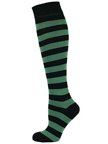 Mit Socken Langen Schwarzen Kostüm - MySocks Unisex Kniehohe lange Socken Streifen Grün Schwarz