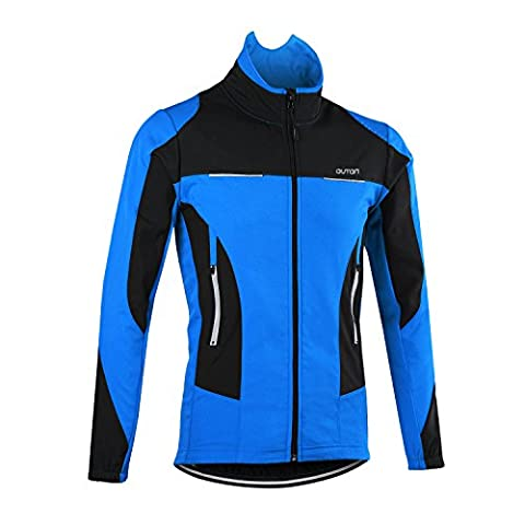 OUTON Men's Cycling Jacket Windproof Breathable Lightweight High Visibility Warm Thermal Stand Up Collar Waterproof MTB Mountain Bike Jacket (Blue,