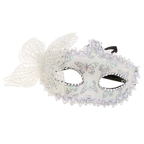 SunniMix Glitter Butterfly Augenmaske Maskerade Venezianische Halbe Gesichtsmaske Kostüm Geschenk Favor - Weiß