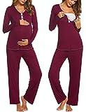 MAXMODA Damen Schlafanzug/Pyjama für Schwangerschaft und Stillzeit Umstandspyjama Langarm mit Knöpfeleiste groß weinrot XXL