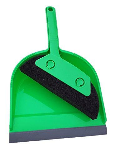 Kehrset 2 in 1 Handkehrset mit Gummilippe + extra borsten + abstreifhilfen + passendes aufeinander klick system leicht verstaubar + Öse zum aufhängen ist gleichzeitig Platz sparend kein lästiges suchen (Grün Schaumstoff)