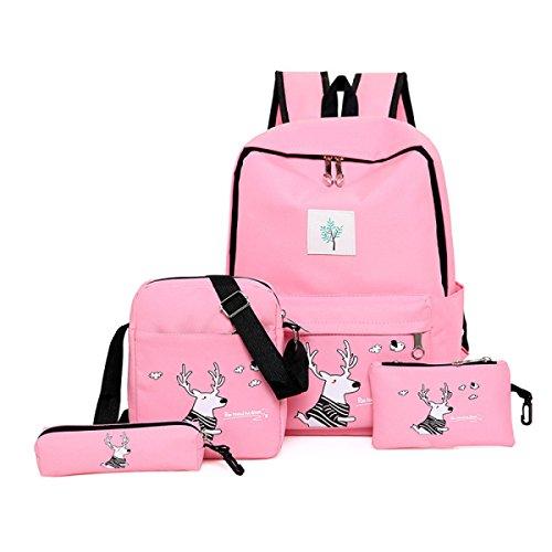 FZHLY Zaino Da Viaggio Di Viaggio Di Viaggio Dello Zaino Dello Studente Di Scuola Media Quattro Set Di Borse Da Scuola,Gray Pink