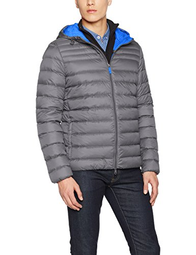 Geox MAN Down Jacket, Giubbotto Uomo, Gris(Metal Grey/Mid Royal), Medium