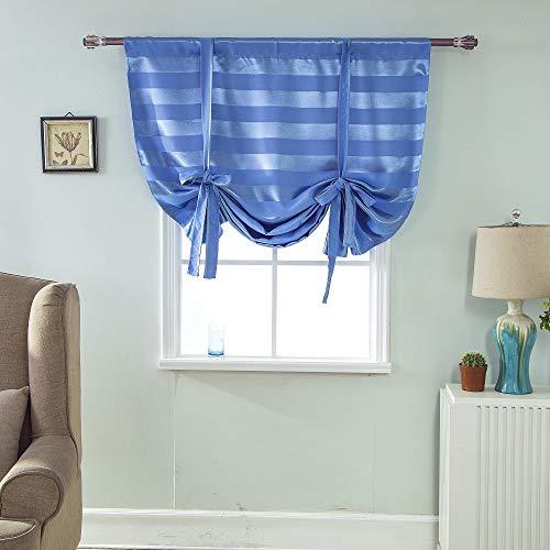 Clothink HxW:120x60cm Raffrollo Schlaufen Gardinen Voile Vorhänge blau