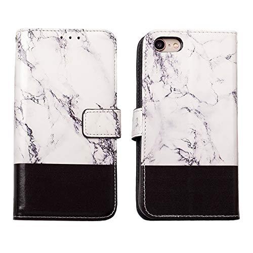 QLTYPRI iPhone 7 iPhone 8 Hülle, PU Ledertasache Marmor Muster Handyhülle Soft TPU Bumper [Kartensfach] [Magnetischer Verschluss] Ständer Flip Wallet Case für iPhone 7/8 - Schwarz