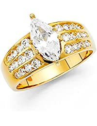 Para mujer 14 K Sólido dorado Brilliant Marquise Cut Cubic Zirconia Canal Boda Anillo de compromiso