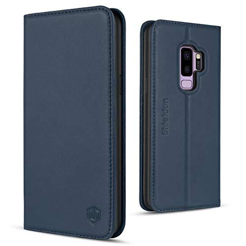 SHIELDON Galaxy S9 Plus Hülle Case [Echtleder] TPU Schutzhülle Handyhülle als [Brieftasche] Lederhülle Magnet Kartenfach Standerfunktion Kompatibel für Galaxy S9 Plus 6,2