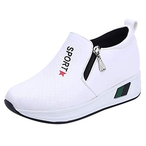 Damen Sneaker Mädchen Mode Laufschuhe Freizeit Leder Freizeitschuhe Sportschuhe mit Reißverschluss… (EU:37.5, Weiß - A)