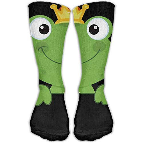 Green Frog Pot (Women's Men's Classics Socks Cute Animal Green Frog With Crown Athletic Stockings Long Sock One Size)