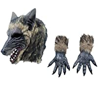 Fancy Dress VIP Express Adults Big Bad Wolf Werewolf Overhead Mask and Pair of Claws Gloves Hands Halloween Costume Kit