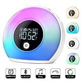 Sendowtek Wake Up Light, Despertador Luz, Reloj despertador digital con altavoces Bluetooth, despertador para niños con 3 voces naturales, 5 luces de colores para...