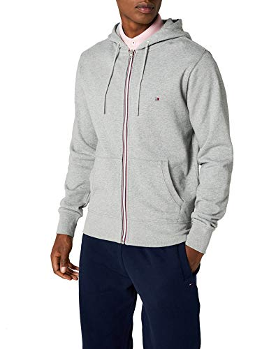 Tommy Hilfiger Herren Strickjacke CORE Cotton Zip Hoodie, Grau (Cloud Htr 501), XXX-Large