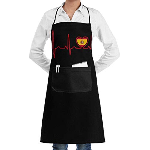 Tierarzt Kostüm Für Erwachsene - Server Aprons Spain Flag Heartbeat Pride Menâ€s Womenâ€s Unisex Cafe Kitchen Long Aprons Sleeveless Overalls Portable with Pocket for Cooking,Baking,Crafting,Gardening,BBQ