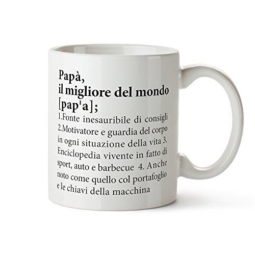 Casa vivente tazza in ceramica bianca con stampa - definizione miglior papà - mug colazione - tè - caffè - accessori cucina - regali originali compleanno - natale - idea festa del papà