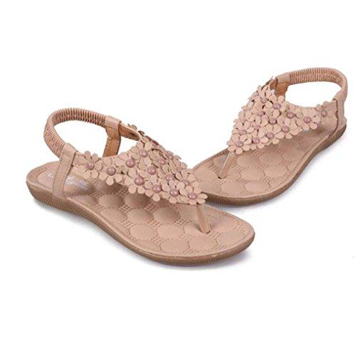 Hunpta Damen Mode süße Sommer Böhmen süße Perlen Sandalen Clip Toe Sandalen Badeschuhe Fischgrät Sandalen Schuhe Khaki