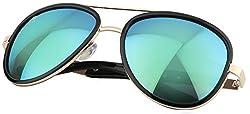 AISLIN Mirrored Aviator Unisex Sunglasses (Light Green Lens) (AS-8502-18-LFLGR557)