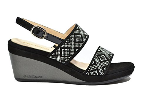 Melluso R70500 , Sandalo Donna con Zeppa e Strass Nero