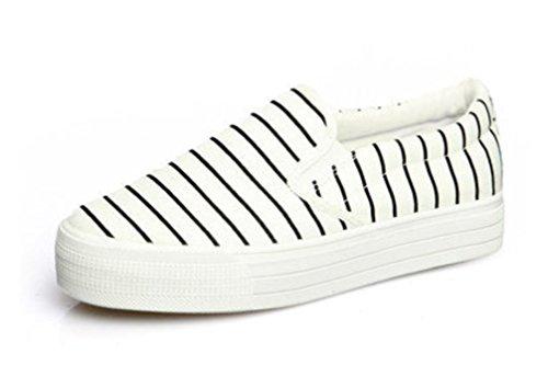 SHFANG Lady Shoes Un pedale Tempo libero Canvas Scarpe Movimento Confortevole Studenti Scuola Esegue Bianco Nero White