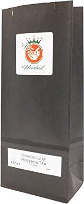 Feuille de Ginkgo Biloba et Bio Rooibos Sachets de Tisane (Paquet de 25, Non Blanchi)