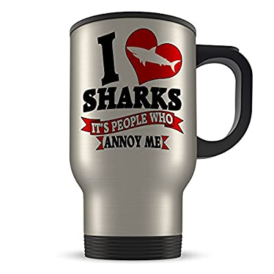 14oz I Love SHARKS It's People That Annoy Me Funny Novelty Aluminium Travel Mug