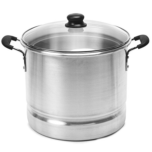 IMUSA USA MEXICANA-428 Aluminum Steamer with Glass Lid 28-Quart, Silver