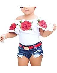 Baby Mädchen Aus Schulter 3D Rose Blume T-Shirt Outfits Kleider