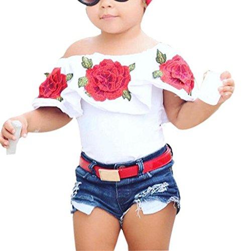Kostüm Twin Ideen Tag (Baby Mädchen Aus Schulter 3D Rose Blume T-Shirt Outfits Kleider (100,)