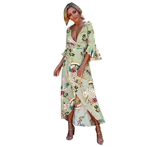 (2018 Damen Kurzarm Sommerkleid Bedrucktes Kleid Strandkleid,Frauen Sommer Strand Sommerkleid Blumen Boho Abendgesellschaft lange Maxi Kleid Von Jaminy (Grün, S))