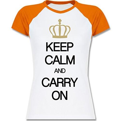 Keep calm Keep calm and carry on zweifarbiges Baseballshirt / Raglan TShirt  für Damen Weiß/Orange