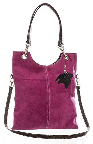 Big Handbag Shop in pelle scamosciata, Maniglia superiore sera frizione borsa a tracolla, rosa (Magenta Pink (GU390)), Taglia unica