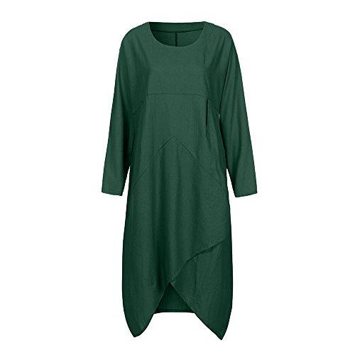 Bellelove Damen Elegant Kleid Baumwolle Vintage Beiläufige Langarm Boho Leinen Sommer Festlich Lange Kleider