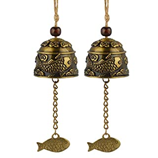Andux Zone 2 Pieces Vintage Wind Chimes Chinese Fengshui Bell for Home Garden Hanging Good Luck Blessing FGFL-01 (Lucky Fish)