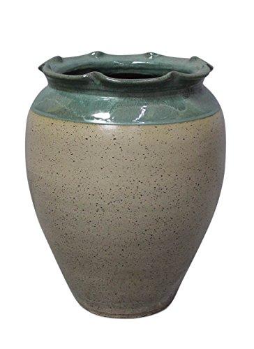 Asien Lifestyle Moderne Bodenvase Ton, teilglasiert Bauchvase groß Grün gebohrt